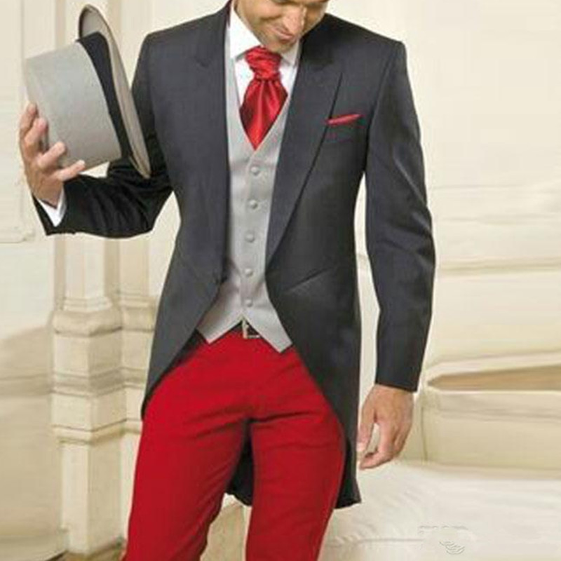 158Grey Tailcoat Men Suits for Wedding Groom Tuxedos Evening Party 3Piece Sliver Vest Red Costume Homme Long Jacket Slim Fit Terno Masculino