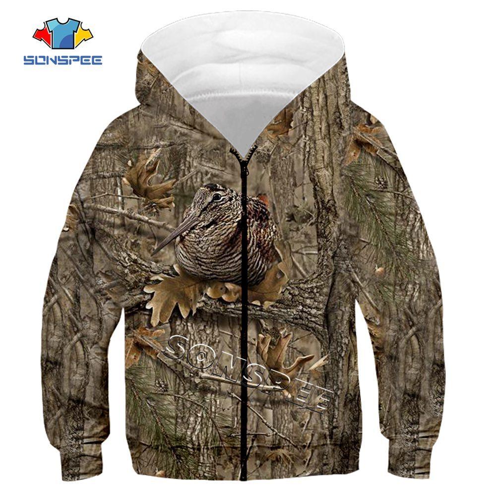 Child Zip Hoody Sweatshirt Top Camouflage Hunting Animal 3D Print Kids Fashion Zipper Hoodie Boy Baby Casual Streetwear Clothing (2)