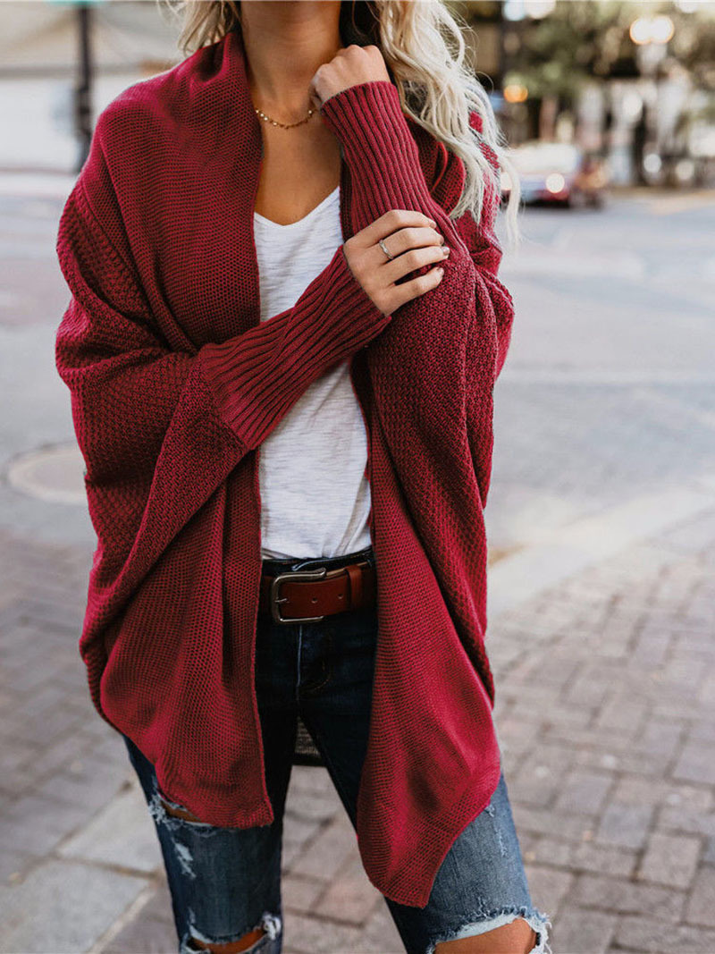 2019 winter new women sweaters casual plus size batwing sleeve kintted winter women cardigan ladies tops clothing (18)