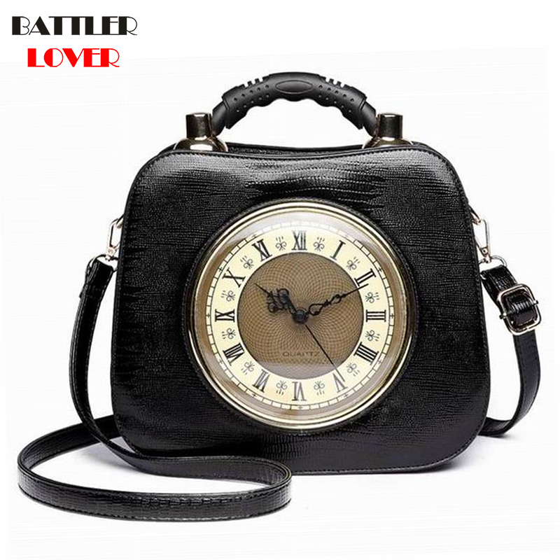 Real Clock Shoulder Bag Women Cross Body Bags Lady PU Leather Handbags Stylish Party Clutches Evening Purses Mujer Femme