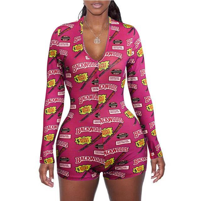 Women One Piece Jumpsuits Rompers Onesies Plus Size Women Clothing V-neck Skinny Hot Print Sexy 2020 Nightwear Bodycon Free DHL