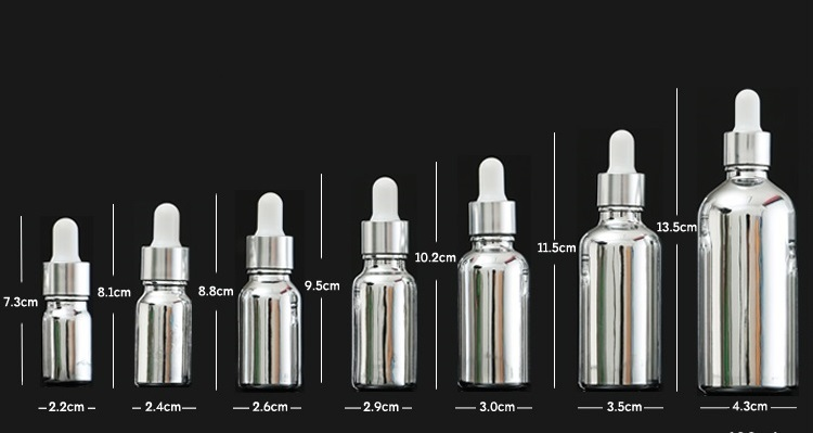 sizes silver Glass Dropper bottle