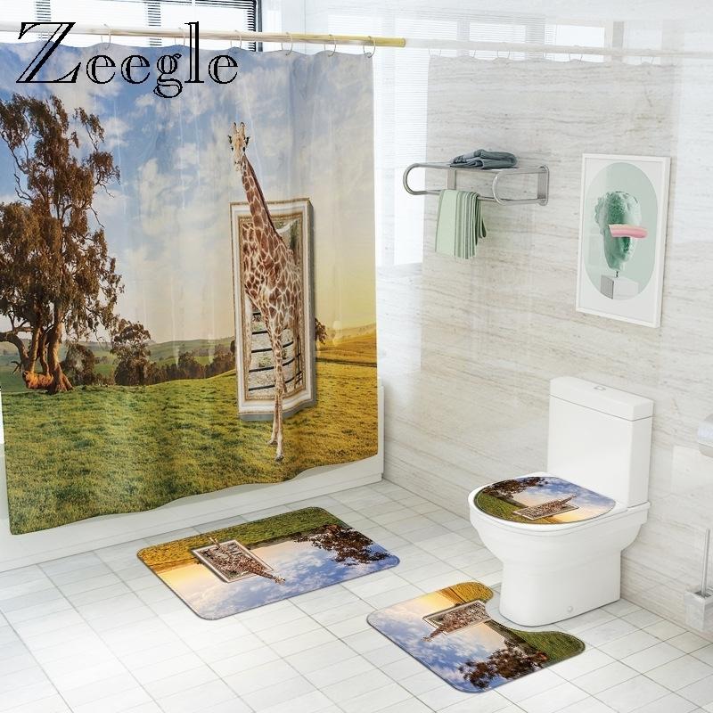Zeegle 3D Giraffe Bath Mat with Shower Curtain Set Polyester Waterproof Shower Curtain Bathroom Floor Mat Toilet Rug Set