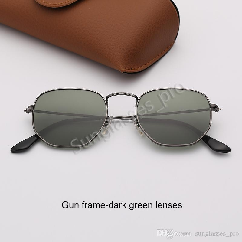 Hexagonal Sunglasses Womens fashion Sunglasses Mens Sun Glass Eyeware Violet Mirror Glass Lenses with Free Brown Leather Case