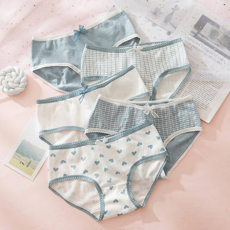 High Quality Plaid Lingerie Girl Love Panties Soft Cotton Underwear Blue Briefs Girls Pants Sexy Lingerie1244