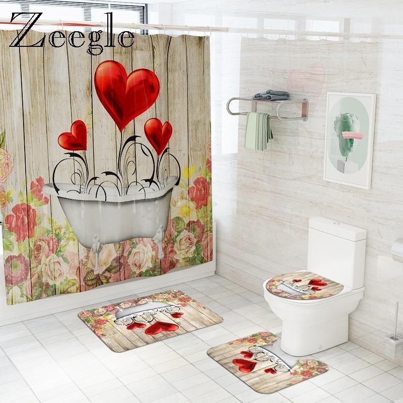 3D Heart Shower Curtain with Bath Mat Set Microfiber Toilet Cover Bath Mat Absorbent Bathroom Floor Mat Printed Bath Foot Mat