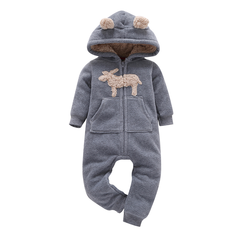 baby clothes cotton hooded Long sleeve one-piece romper gray cute deer model winter spring baby boy girl costume for 0-24m