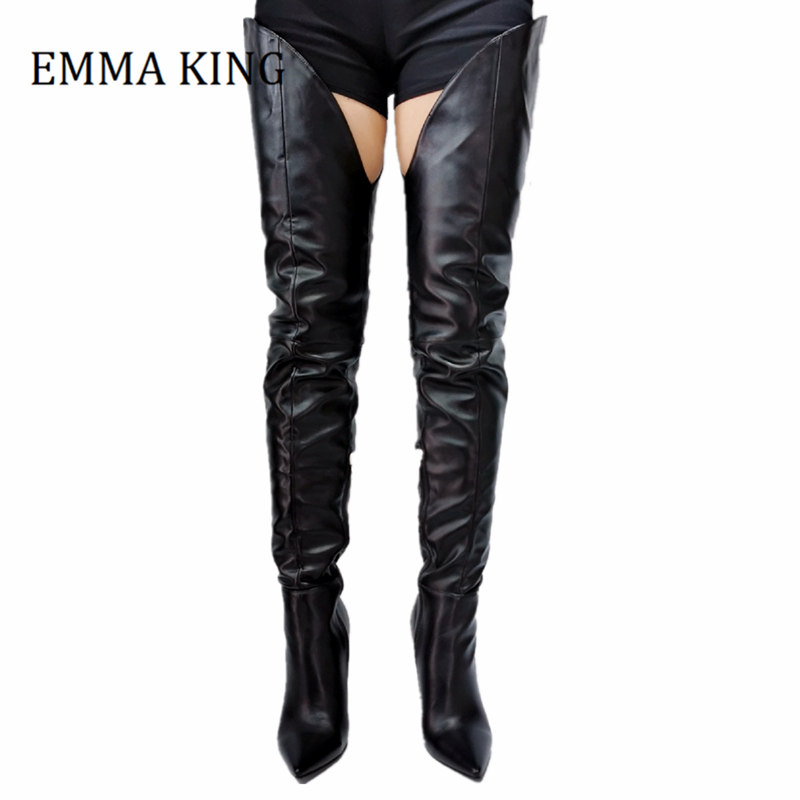 Discount Leather Crotch High Heel Boots