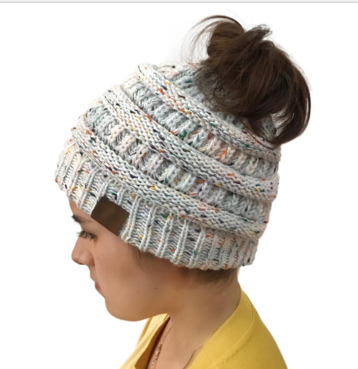 CC Beanies Colorful Knitted Crochet Twist Headdress Winter Ear Warmer Hat Winter Hair Accessories Horsetail Hat