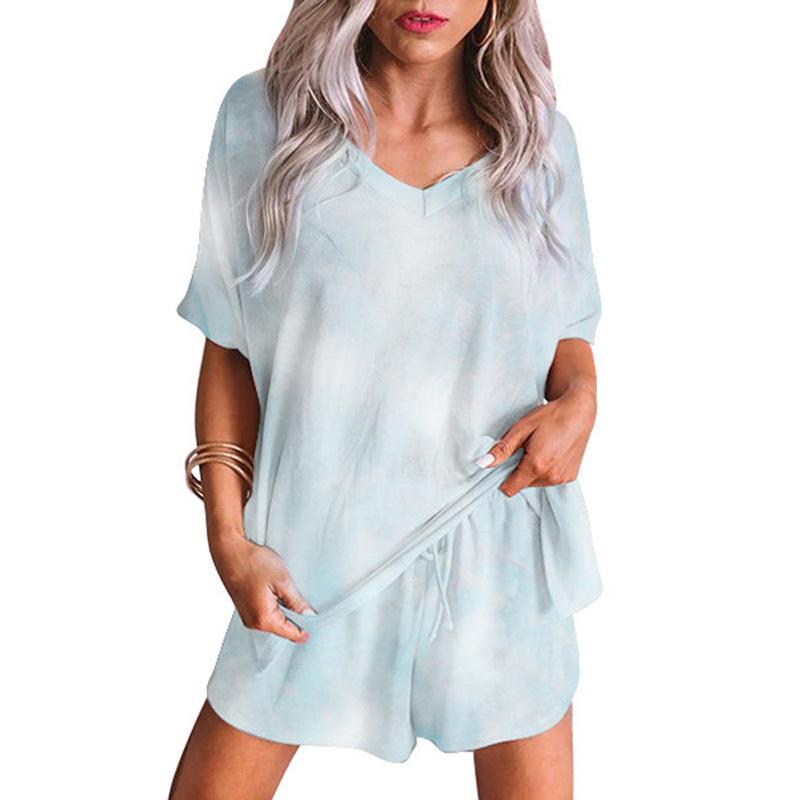 2020 New pijamas women sleepwear women home wear clothes comfortable nightgown top and pants Cute summer short sleeve pajama set (17)