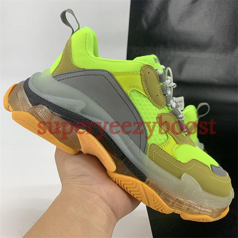 NEW Paris Triple S Clear Sole casual dad shoes fluo black grey rainbow sole neon green metallic silver mens women platform outdoor Sneakers