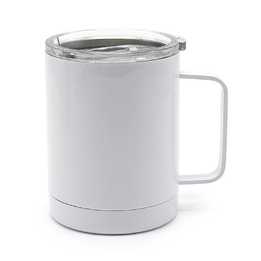 10OZ Sublimation Coffee Mug with Handle Blank Coffee Cup Thermal Transfer Tumbler Stainless Steel Drinking Cup A02