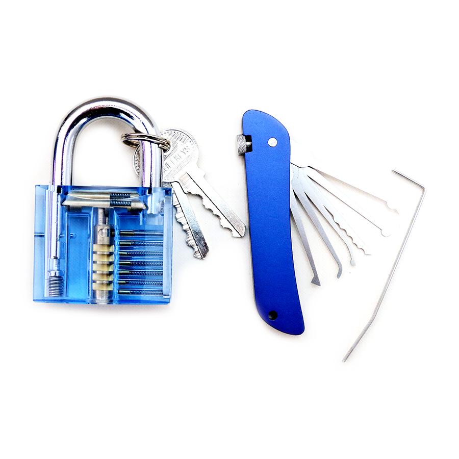 Foldable Door Lock Opener with Transparent Cutaway Inside View PadLock Lock Pick Set