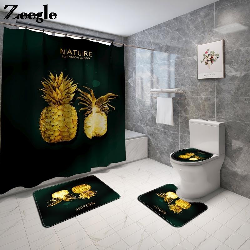 3D Fruit Print Bath Mat and Shower Curtain Set Microfiber Toilet Floor Mat Non Slip Absorbent Bathroom Mat Shower Foot Mat
