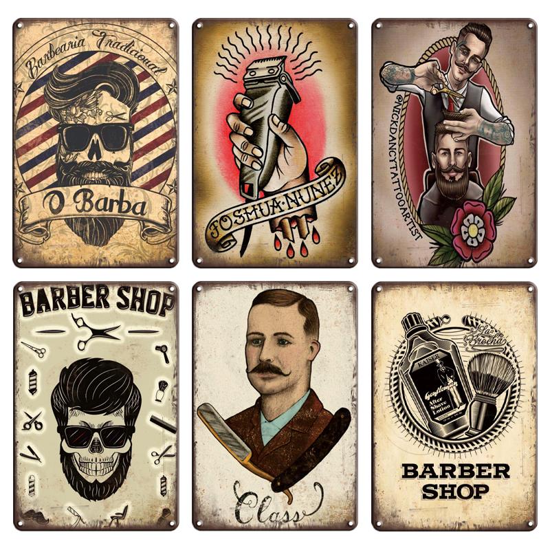 2021 Funny Shabby Chic Vintage Barber Shop Metal Sign Retro Craft PIN UP Tintin Tin Plates Poster Pub Shop Home Metal Wall Art Decor 20X30cm