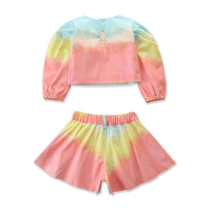 INS fashion girls suits denim girls outfits long sleeve Tops+shorts sweet girls clothes designers clothes kids clothes B3081