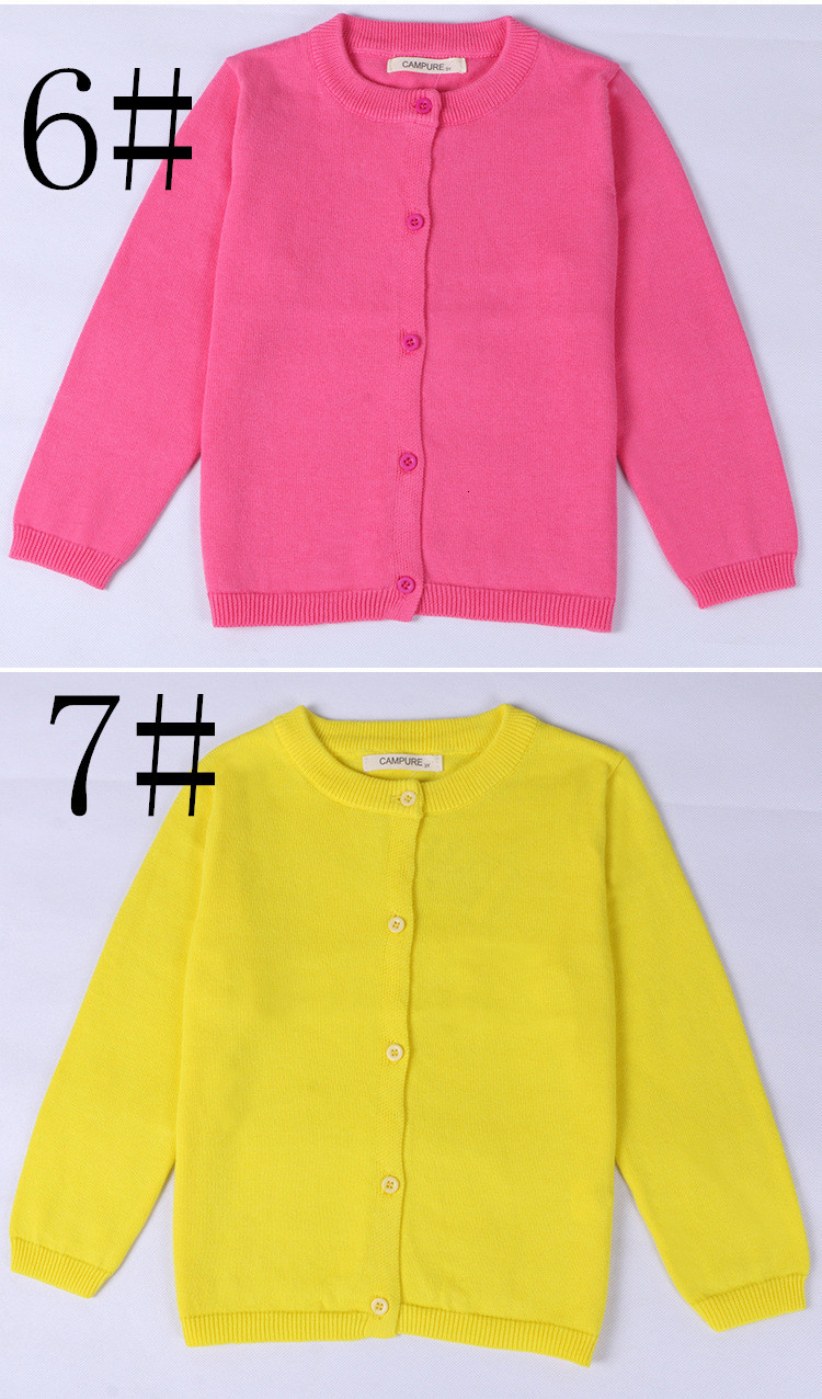 CAMPURE Childrens Solid Cotton Sweater Baby Girls 2019 Fall Pretty Candy Color Soft Cardigans Kids Outwears