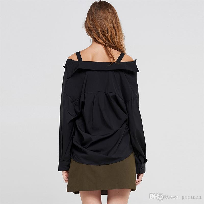 European And American Sexy Black Shoulder Strap Off-Shoulder Shirt V-Neck Loose Long-Sleeved Shircasual Women Desiger Long Blouse Size S-2Xl