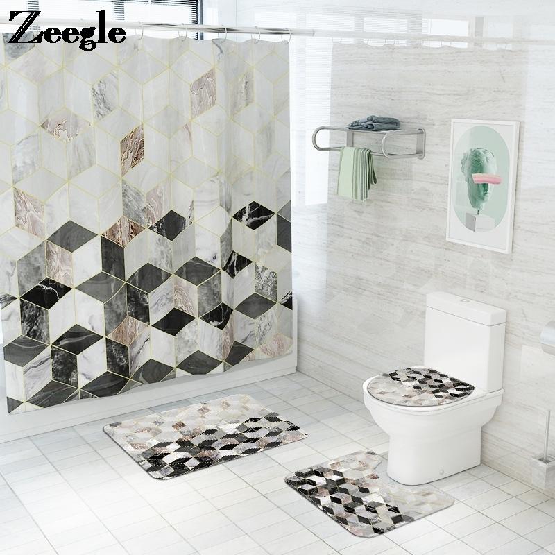 Marble Pattern Shower Curtain with Bath Mat Set Microfiber Toilet Carpet Bathroom Carpet Shower Room Foot Mat Bathroom Floor Mat