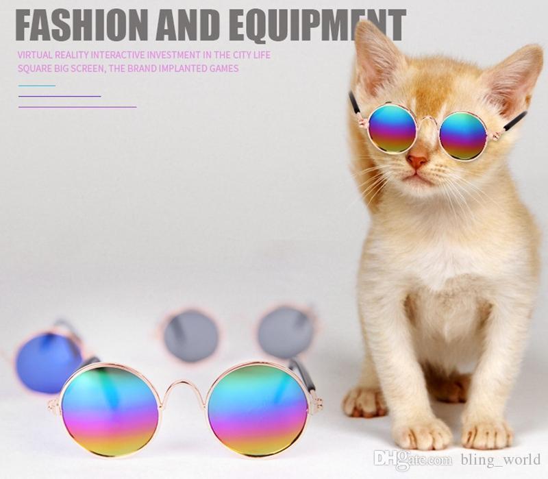 Pet Cat Glasses Retro Round Dog Sunglasses Pet Sun Glasses Funny Cat Photos Props Pet Supplies YW3899