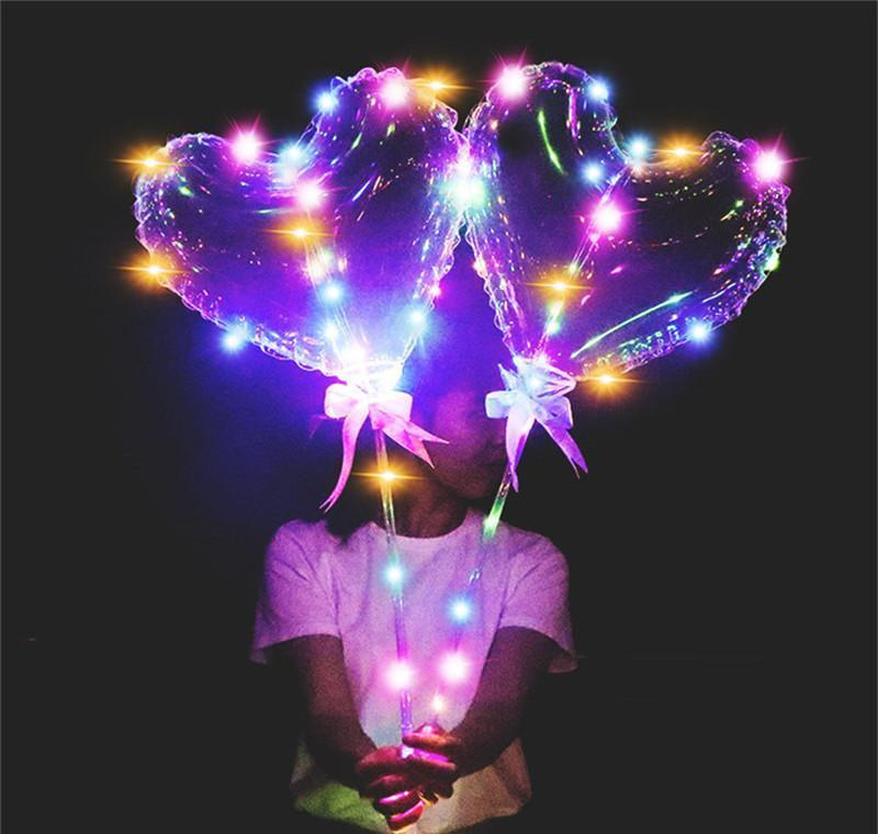 Led Love Heart Star Shape Balloon Luminous Bobo Balloons With String Lights 70cm Without battery Pole Night Light Balloon For Wedd