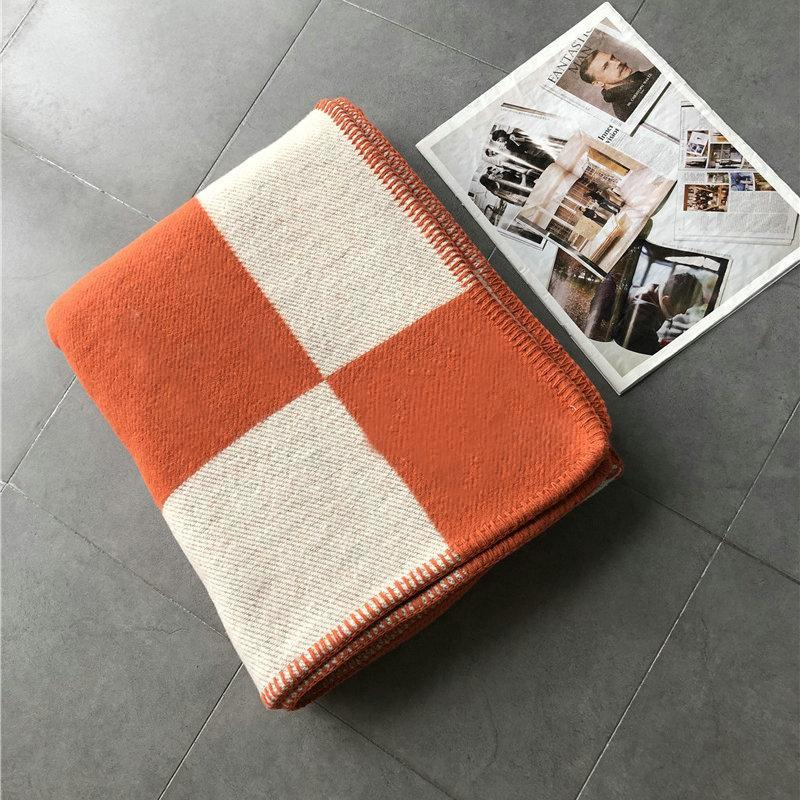 140x180cm Letter H Cashmere Blanket Crochet Soft Wool Shawl Portable Warm Plaid Sofa Travel Fleece Knitted Throw Cape Blankets