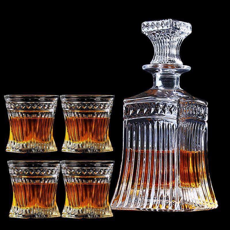 European classic wine bottle Red wine decanter Household hip flask Whiskey bottle Crystal glass wine set