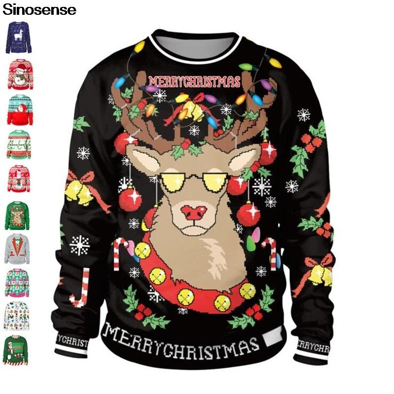 Unisex Funny Ugly Christmas Pullover Sweatshirts Fansu Novelty Xmas Lovely Santa Unicorn Pattern 3D Printing Long Sleeve Round Neck Sweater