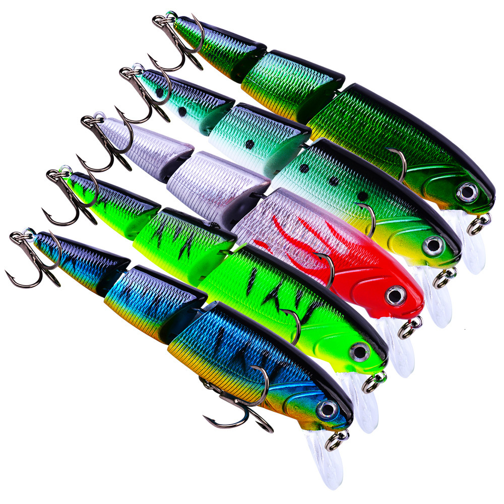New Plastic 6# 3 Hooks Minnow Fishing Lure 11cm 14.7g Multi Jointed Bass Pike Striper Fishing Bait Swimbait Lure