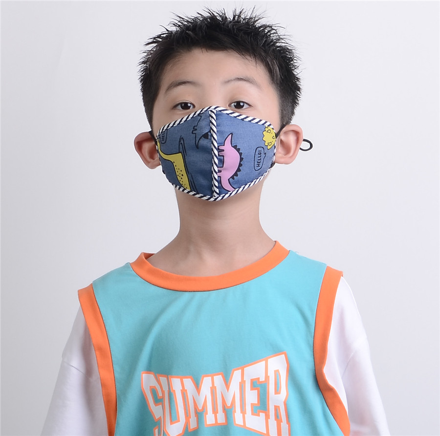 Designer Kids Mask Breathable Cotton Unisex Riding Bike Wearing Black Fashion Cotton Face Mask Adult Water Washing Nano Filtration Face Mask