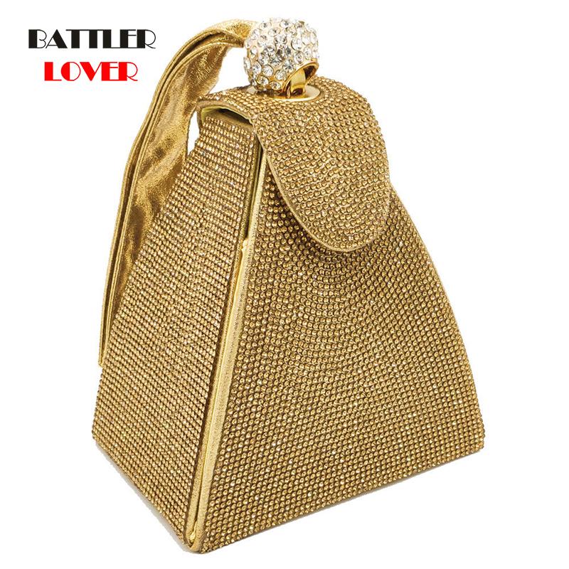 Luxury Peral Bag Dazzling Fashion Pyramid Crystal Clutch Evening Bags For Women 2019 Designer Evening Wedding Wristlets Handbags