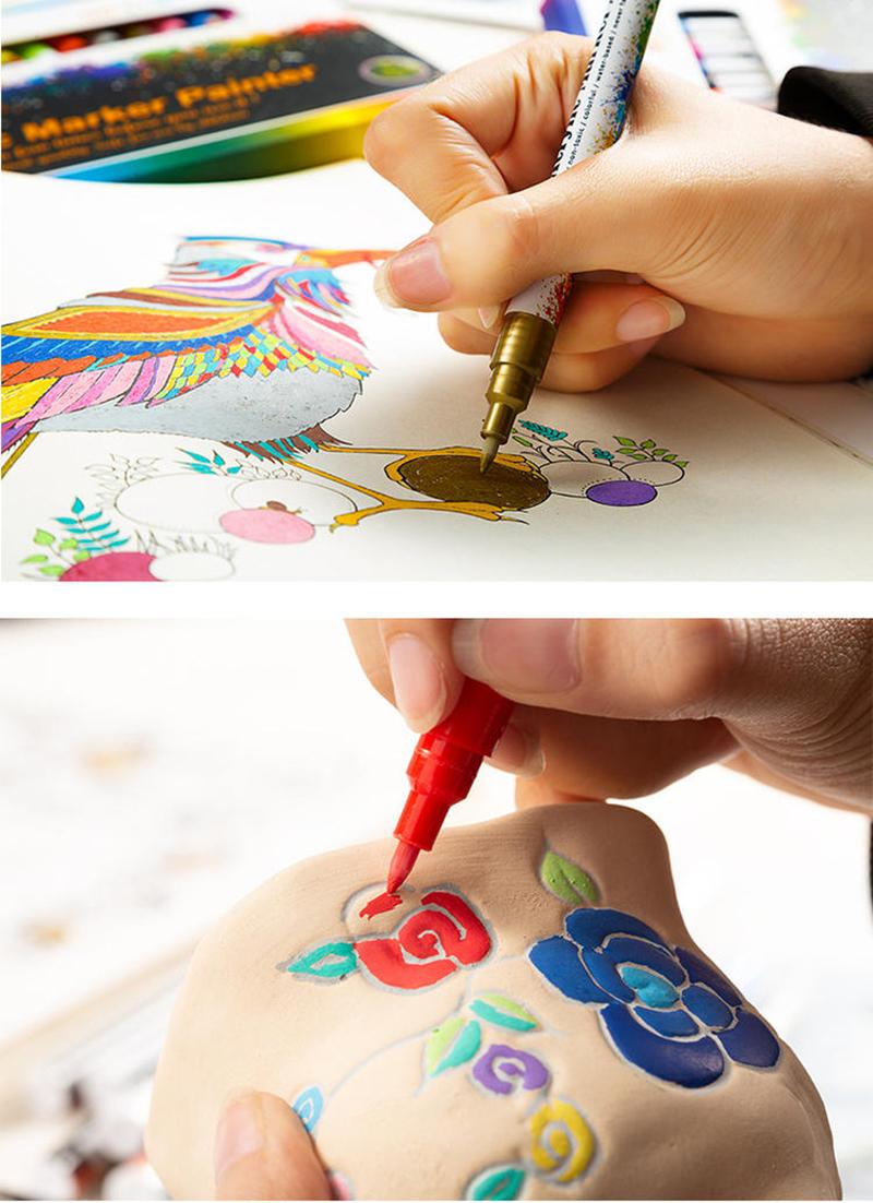 18 ColorsSet 0.7mm Acrylic Paint Marker pen for Ceramic Rock Glass Porcelain Mug Wood Fabric Canvas Painting Detailed Marking (48)