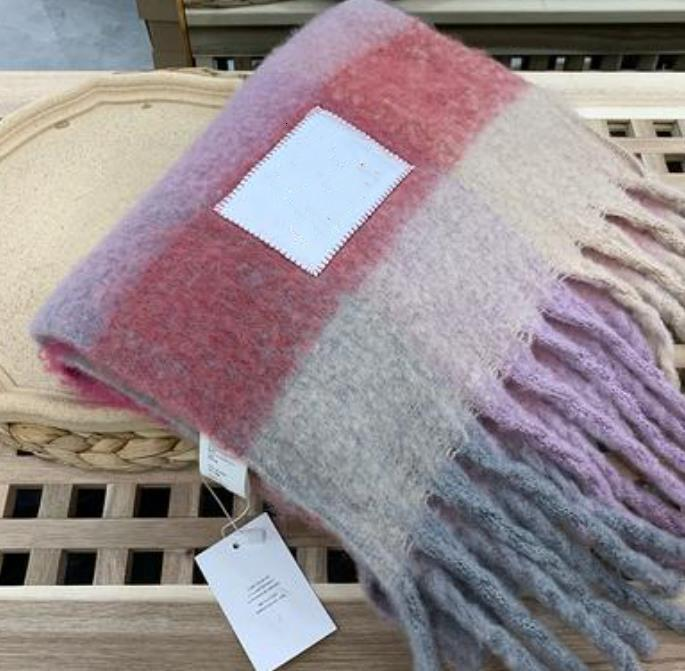 Wholesale-Brand Acne Studios high quality Wool scarf new rainbow grringed shawl for male and female 22