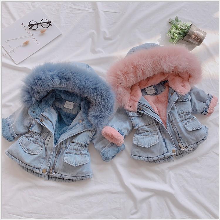 2021 New Arrivals Girls Winter Thicken Coats Children Denim Hooded Coat Kids Fur Collar Cotton Jacket Baby Girl Outwear