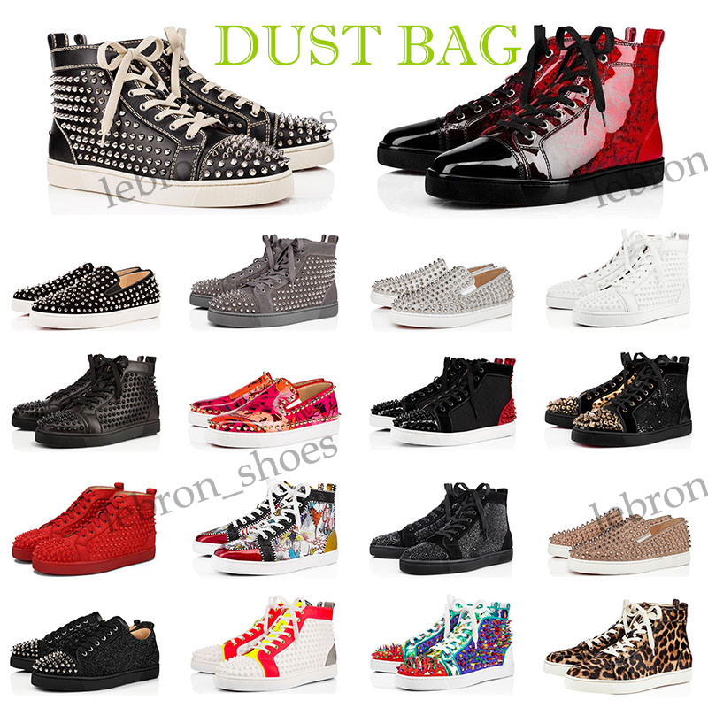 Top Quality men women Dress shoes red bottom fashion Black Leather Spike red white yellow sneakers Party Wedding des chaussures