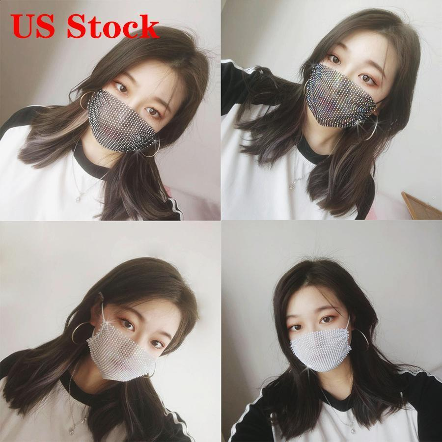 DHL Ship Fashion Designer Face Party Mask Female Mask With Drill Mask Sun Protection Masks Summer Decoration Rhinestone Facemask