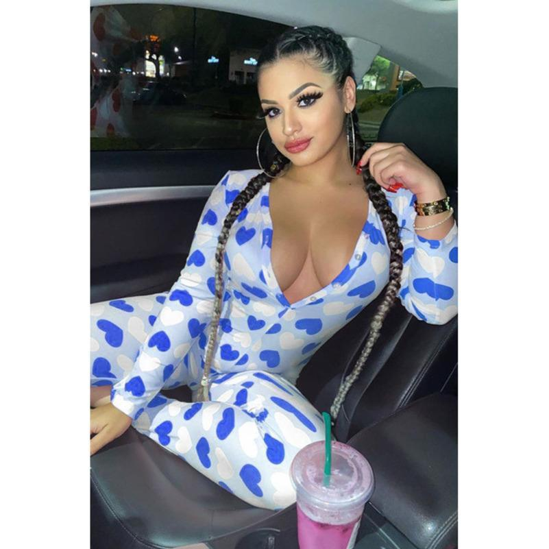 hot Women Nightwear Playsuit Workout Button Skinny Hot Print long sleeve Jumpsuits V-neck Onesies Women Plus Size Rompers CY9083