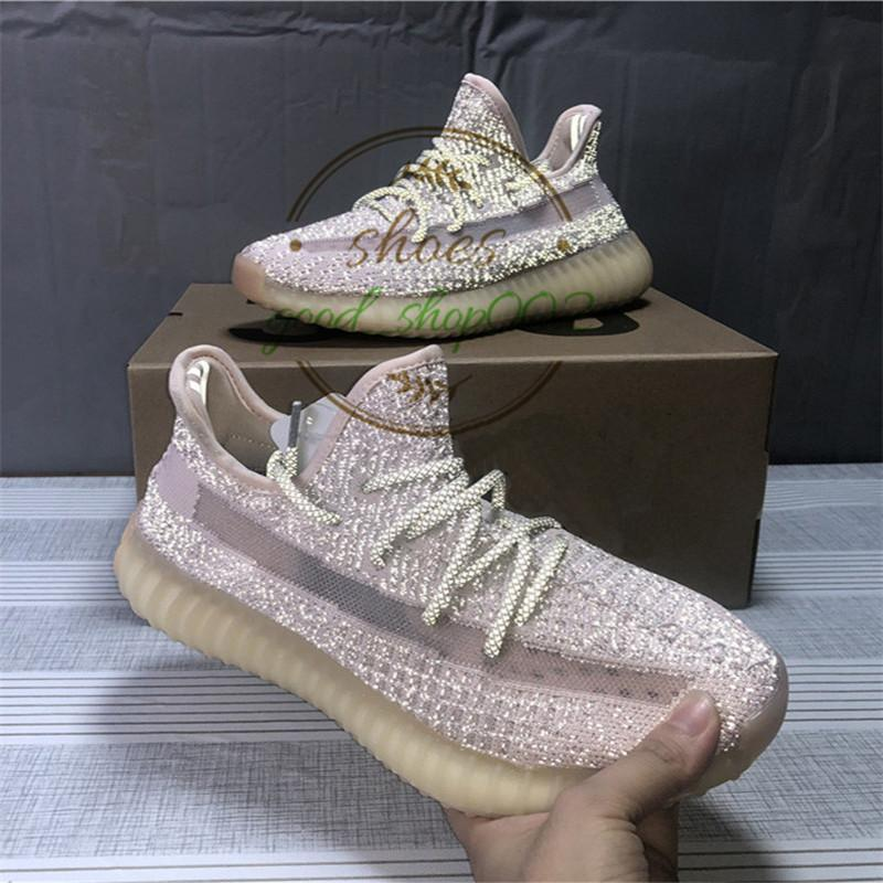 With Box receipt top quality yecheil reflective Gid Glow Lundmark True Form Kanye west Mens women shoes Clay Black Running Shoes