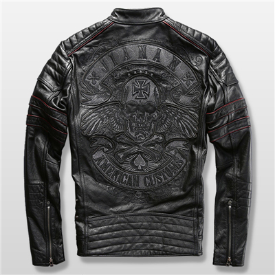 harley-motorcycle--genuine-cowhide-leather-skull-mens-slim-short-leather-jacket