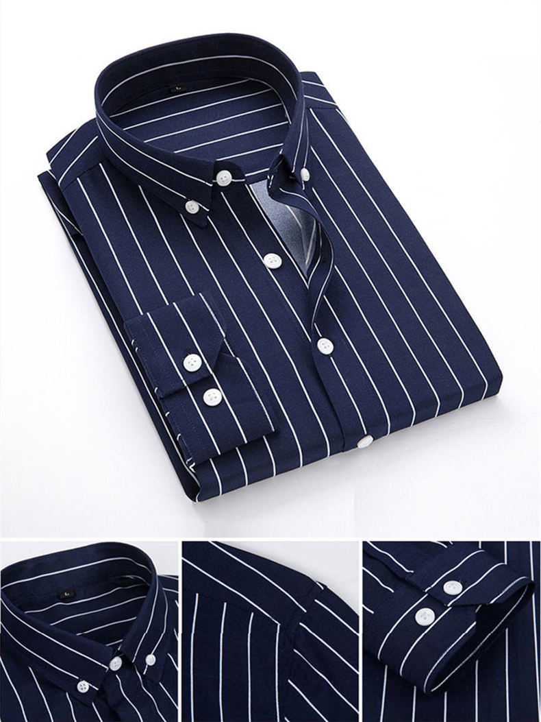 5XL Plus Large Size Striped Shirts Men Long Sleeve Casual Autumn Spring Classic Male Shirts Non-Iron Dress Shirts Man Muls Brand 9