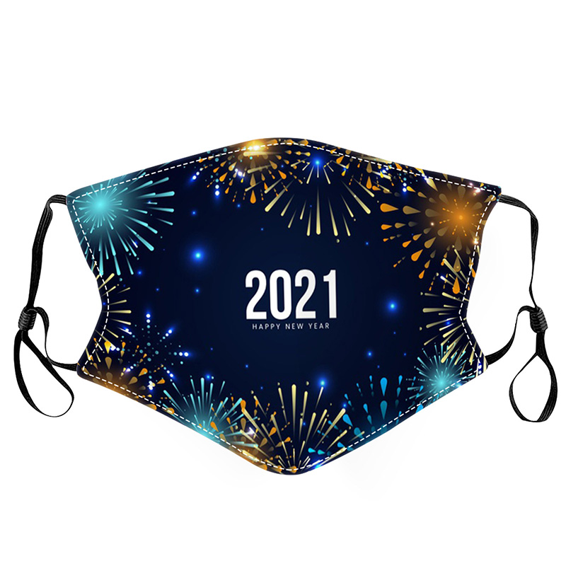 2021 New Year`s Cotton Masks Washable Adult Children Cotton Masks Dust-proof Washable Cloth Printed Face Masks