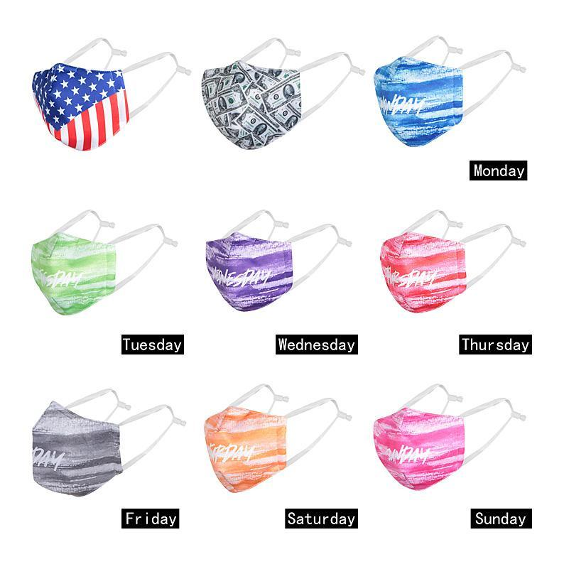 Creativity Week Face Mask Anti-fog Haze Washable Breathable Mask Printing Civilian Washable Anti-dustf Mask Dust Filter Can Be Replaced