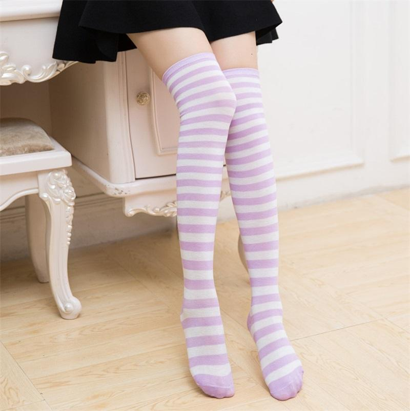 Womens Thigh Highs Sock Multi Color Striped Cotton Student Style Knee Socks Girl Cosplay Outdoor Fashion High Stocking 3 5zz L2