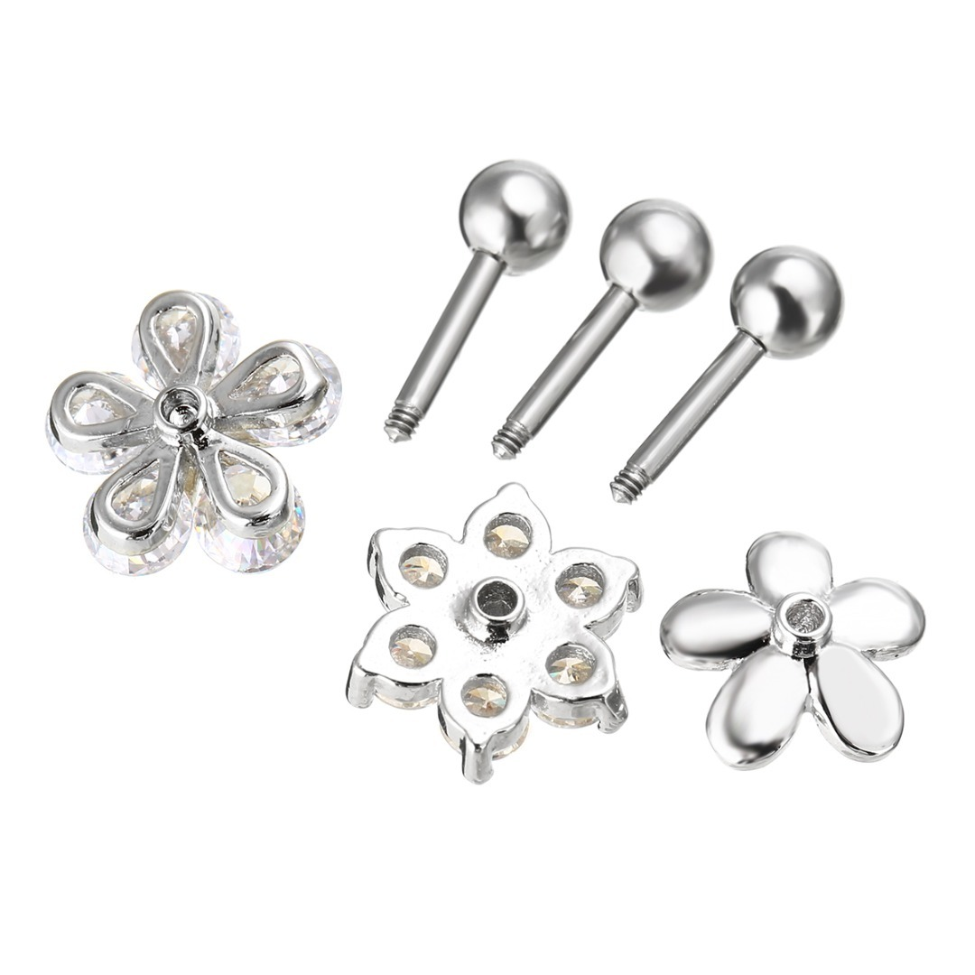 Sainio 3pcs CZ Flower Ear Cartilage Tragus Helix Earrings Nail Bone Barbell Piercing Cartilage Ring Jewelry For Women Girl