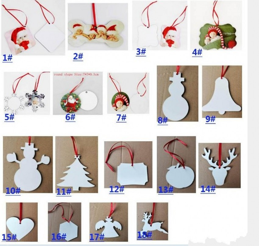 DHL Ship 18 Styles Sublimation Christmas Ornaments Decorations Round Square Shape Xmas Decorations Hot Transfer Printing Blank FY4266