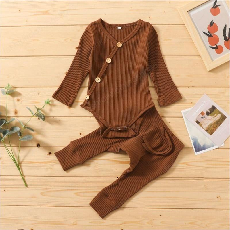 kids clothes girls boys Pit stripe outfits infant Solid color Button romper Tops+pants 2021 spring Autumn baby Clothing Sets