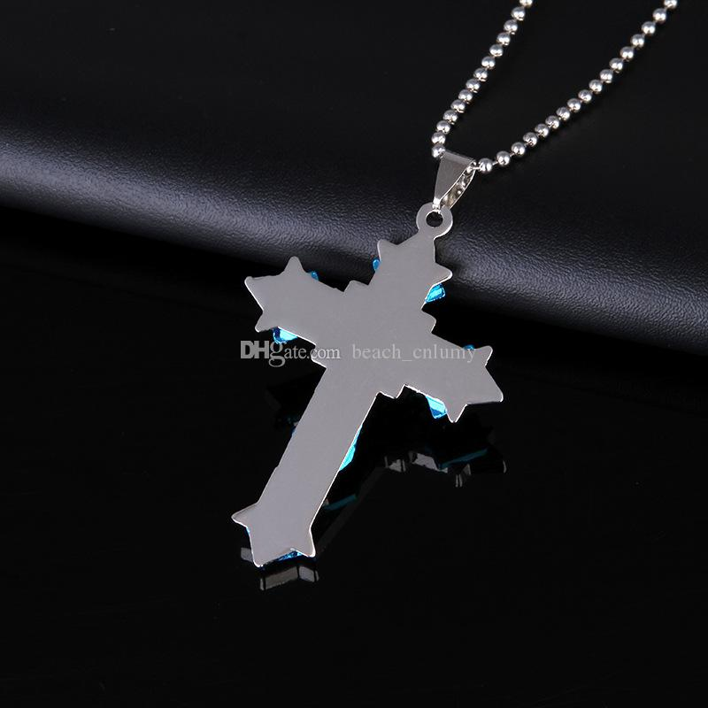 Mens Cross Diamonds Pendant Necklaces Titanium Steel Link Chain Necklace Statement Charm Popular Jewelry gifts Fashion Accessories hot sale