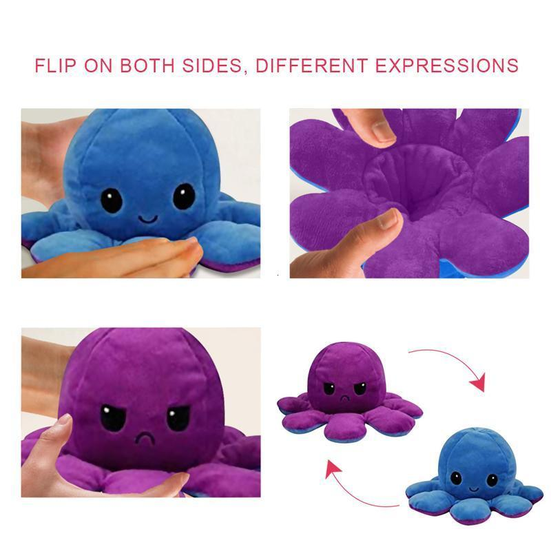 Cute Soft Simulation Reversible Octopu Doll Kids Christmas Gift Double Sided Plush Toy Chirdren Birthday Gift Fast Shipping H jlltAf