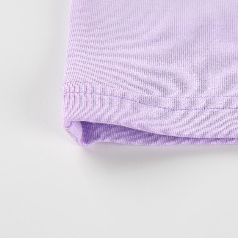 14Sweetown Harajuku Crop Top Long Sleeve Turtleneck T Shirt purple Korean fashion Style graphic tees Women Printed Kawaii Tshirt