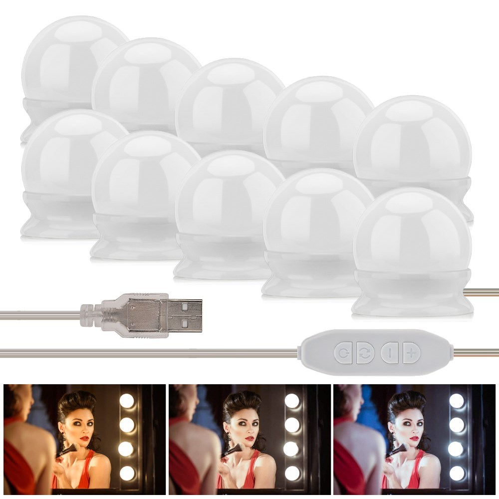 Makeup Mirror Vanity LED Light Bulb Hollywood Dimmable Mirror Light Makeup Vanity Table Set for Dressing Room Without Mirror (2)